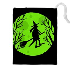 Halloween Witch   Green Moon Drawstring Pouches (xxl)