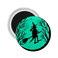 Halloween witch - cyan moon 2.25  Magnets