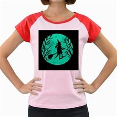 Halloween witch - cyan moon Women s Cap Sleeve T-Shirt