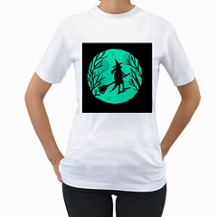 Halloween witch - cyan moon Women s T-Shirt (White) (Two Sided)