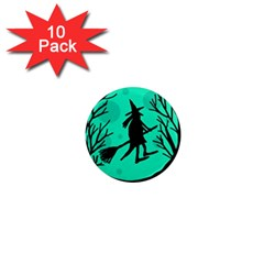 Halloween witch - cyan moon 1  Mini Magnet (10 pack)