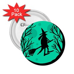 Halloween witch - cyan moon 2.25  Buttons (10 pack)
