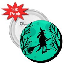 Halloween witch - cyan moon 2.25  Buttons (100 pack)