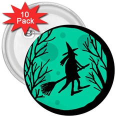 Halloween witch - cyan moon 3  Buttons (10 pack)
