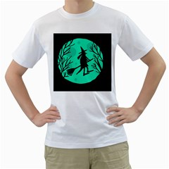 Halloween witch - cyan moon Men s T-Shirt (White) (Two Sided)