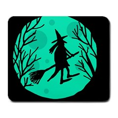 Halloween witch - cyan moon Large Mousepads