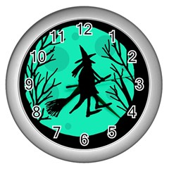 Halloween witch - cyan moon Wall Clocks (Silver)