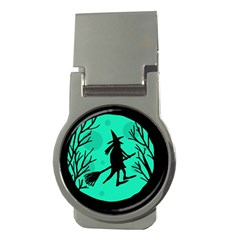 Halloween witch - cyan moon Money Clips (Round)