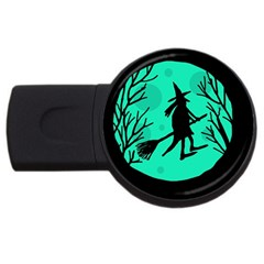 Halloween witch - cyan moon USB Flash Drive Round (1 GB)