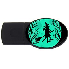 Halloween witch - cyan moon USB Flash Drive Oval (1 GB)