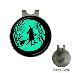 Halloween witch - cyan moon Hat Clips with Golf Markers