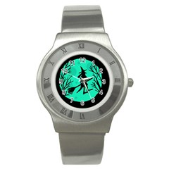 Halloween witch - cyan moon Stainless Steel Watch
