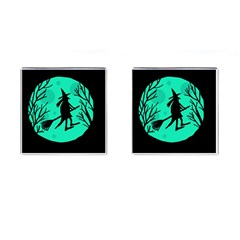 Halloween witch - cyan moon Cufflinks (Square)