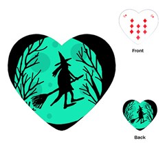 Halloween witch - cyan moon Playing Cards (Heart)