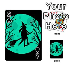 Halloween witch - cyan moon Playing Cards 54 Designs