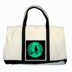 Halloween witch - cyan moon Two Tone Tote Bag