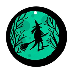 Halloween witch - cyan moon Round Ornament (Two Sides)