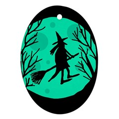 Halloween witch - cyan moon Oval Ornament (Two Sides)