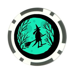 Halloween witch - cyan moon Poker Chip Card Guards