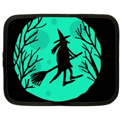 Halloween witch - cyan moon Netbook Case (Large)