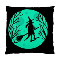 Halloween witch - cyan moon Standard Cushion Case (Two Sides)