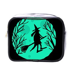 Halloween witch - cyan moon Mini Toiletries Bags