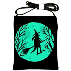 Halloween witch - cyan moon Shoulder Sling Bags