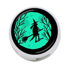 Halloween witch - cyan moon 4-Port USB Hub (One Side)