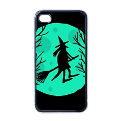 Halloween witch - cyan moon Apple iPhone 4 Case (Black)