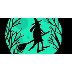 Halloween witch - cyan moon YOU ARE INVITED 3D Greeting Card (8x4)