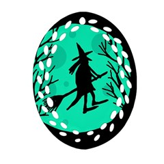 Halloween witch - cyan moon Oval Filigree Ornament (2-Side)