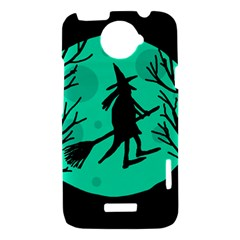 Halloween witch - cyan moon HTC One X Hardshell Case