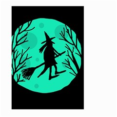 Halloween witch - cyan moon Large Garden Flag (Two Sides)