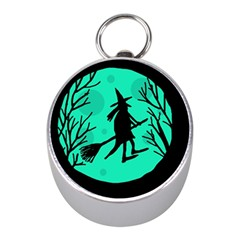 Halloween witch - cyan moon Mini Silver Compasses