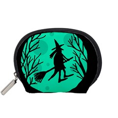 Halloween witch - cyan moon Accessory Pouches (Small)