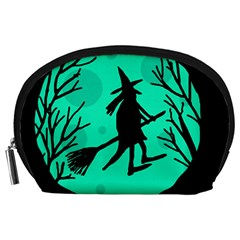 Halloween witch - cyan moon Accessory Pouches (Large)