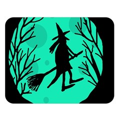 Halloween witch - cyan moon Double Sided Flano Blanket (Large)