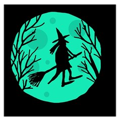 Halloween witch - cyan moon Large Satin Scarf (Square)