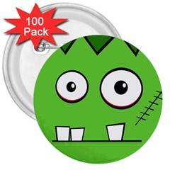 Halloween Frankenstein - green 3  Buttons (100 pack)