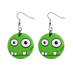 Halloween Frankenstein - green Mini Button Earrings