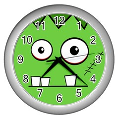 Halloween Frankenstein - green Wall Clocks (Silver)