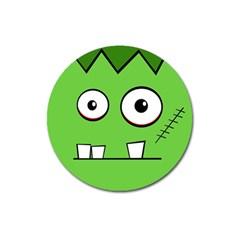 Halloween Frankenstein - green Magnet 3  (Round)