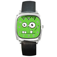 Halloween Frankenstein - green Square Metal Watch