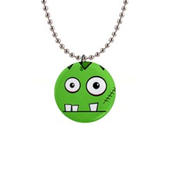 Halloween Frankenstein - green Button Necklaces
