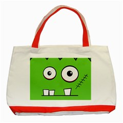 Halloween Frankenstein - green Classic Tote Bag (Red)