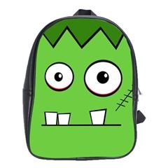 Halloween Frankenstein - green School Bags(Large)