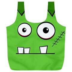 Halloween Frankenstein - green Full Print Recycle Bags (L)