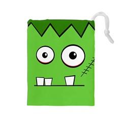 Halloween Frankenstein - green Drawstring Pouches (Large)