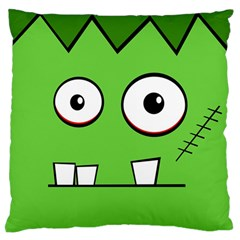 Halloween Frankenstein - green Large Flano Cushion Case (Two Sides)