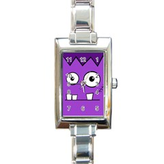 Halloween Frankenstein - Purple Rectangle Italian Charm Watch